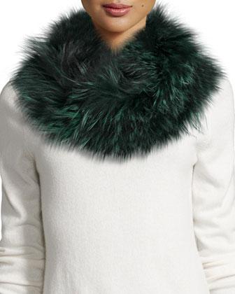 Draped Fox Fur Cowl Collar, Green