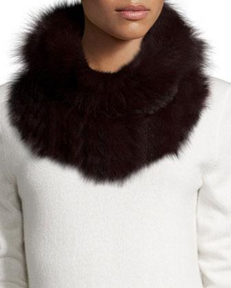 Knitted Fox & Rabbit Fur Cowl Collar