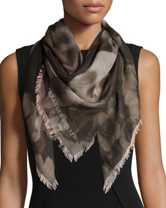 Ghost Skull Printed Shawl, Black/Ivory