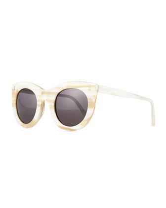 Boca Round Plastic Sunglasses, Ivory