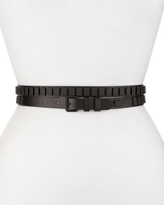 Long & Winding Road Belt with Square Studs, Black