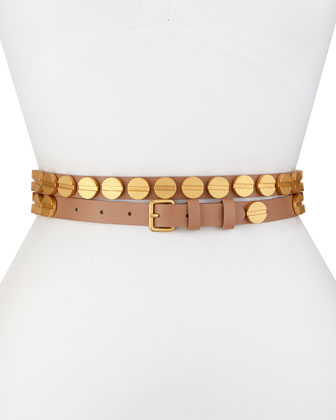 Long & Winding Road Belt with Round Studs, Suntan/Matte Gold