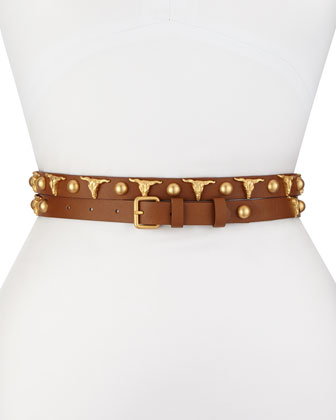 Long & Winding Road Belt with Longhorn and Round Studs, Cognac/Gold
