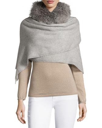 Hooded Piuma-Link Poncho, Matte Silk Turtleneck Top, Leather Pencil Skirt & ...