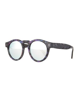 Leonard Printed Mirror Sunglasses, Blue/Purple