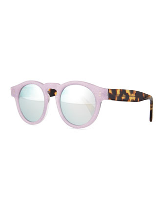 Leonard Round Sunglasses, Purple/Brown