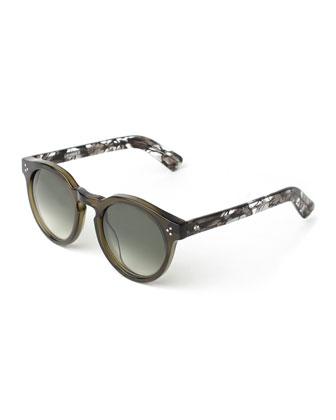 Leonard II Round Sunglasses, Green Spider