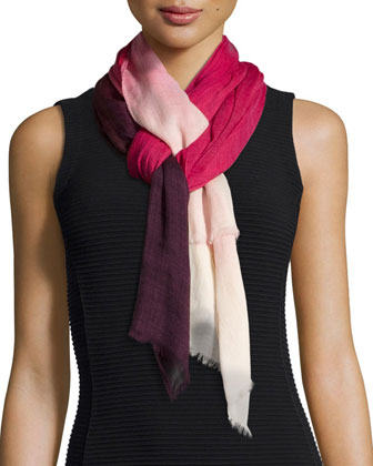 Ombre Wool Scarf, Pink/Multi