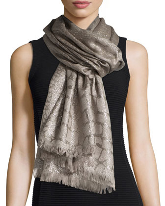 Crocodile Jacquard Evening Scarf, Gold