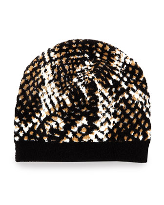 Python-Print Knit Hat, Black/Brown