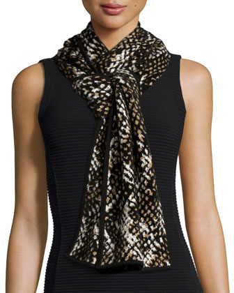 Chunky Printed Knit Scarf, Black/Brown