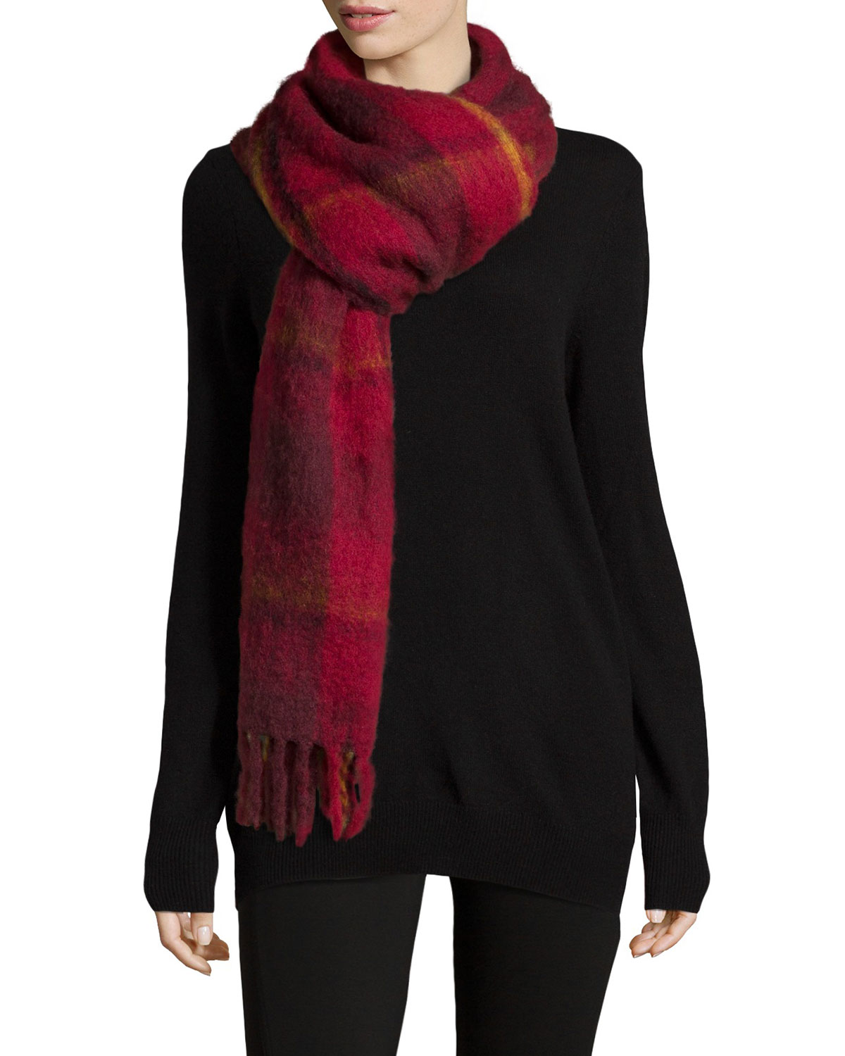 Blanket Plaid Knit Scarf, Red - MARC by Marc Jacobs