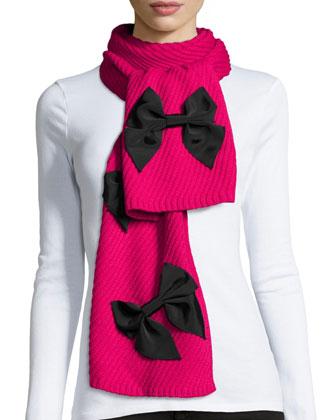 diagonal-rib bow scarf