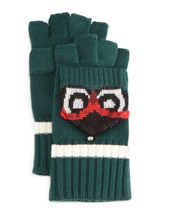 owl pop top mittens
