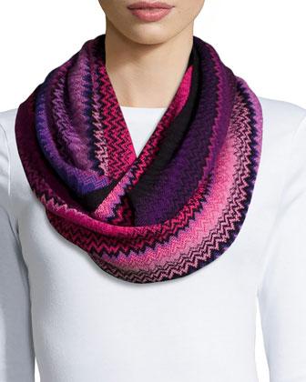 Zigzag Knit Infinity Scarf/Cowl Collar