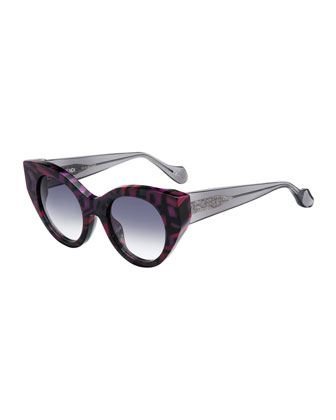 Fanny Cat-Eye Sunglasses, Purple/Black