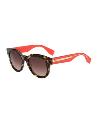 Rounded Contrast-Arm Sunglasses