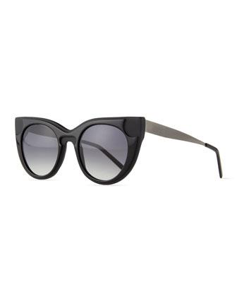 Sabry Flared-Brow Sunglasses, Black