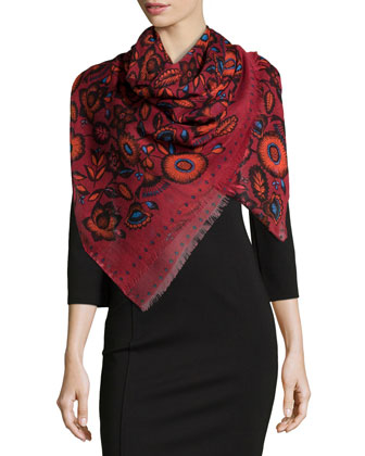 Cylinder Flower Defil?? Scarf, Red