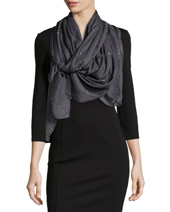 Eyes Allover Printed Scarf, Gray