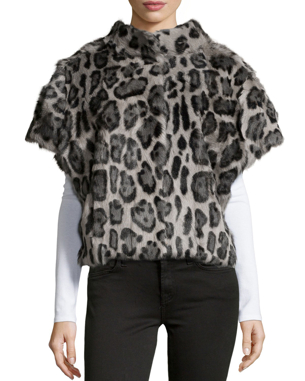 Leopard-Print Fur Batwing Vest, Leopard, Size: SMALL - Pologeorgis
