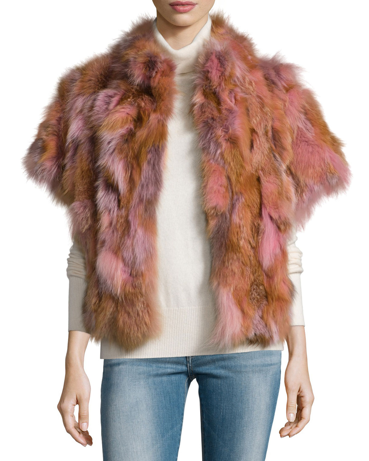 Fox Fur Batwing Vest, Blush, Size: SMALL - Pologeorgis