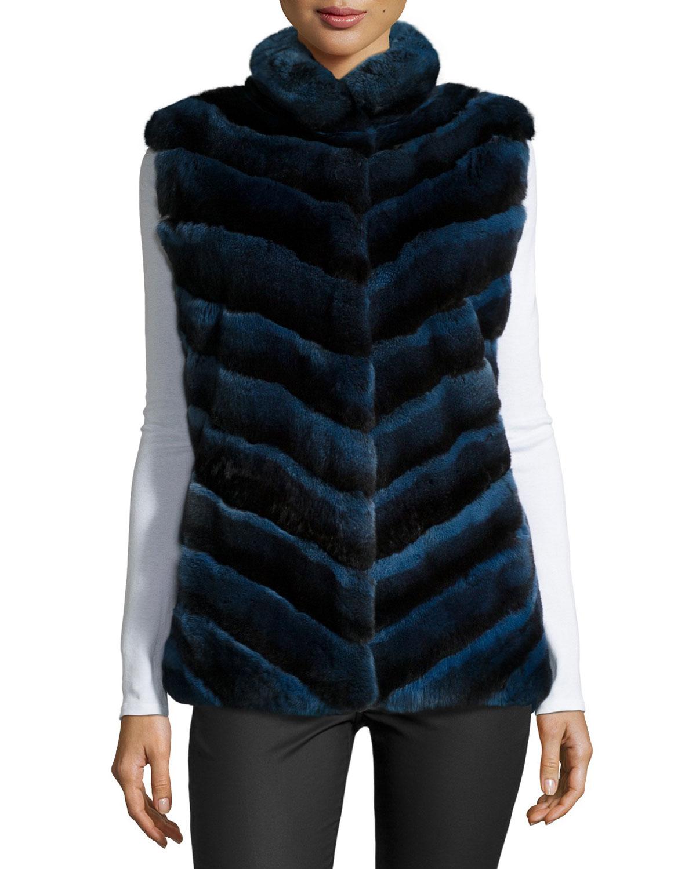 Chevron Fur Vest, Blue, Size: SMALL - Pologeorgis