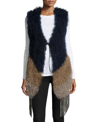 Fringe Chevron Fur Vest, Camel