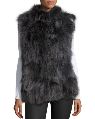 Coyote Fur Patchwork Stand-Collar Vest, Graphite