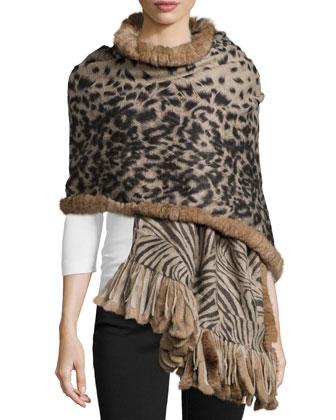 Cashmere Reversible Animal-Print Wrap w/Fur Trim, Camel/Black