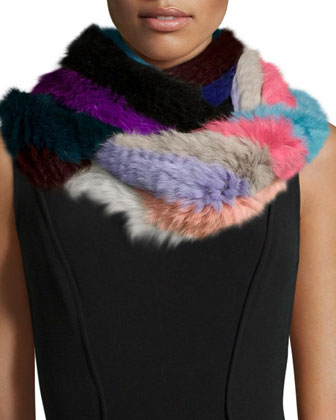 Knitted Rabbit Fur Infinity Scarf, Multicolor