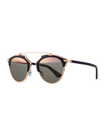 So Real Brow Bar Sunglasses, Dark Blue