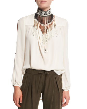 Long-Sleeve Silk Tie Blouse, Beaded Fringe Necklace & Embellished Tux ...