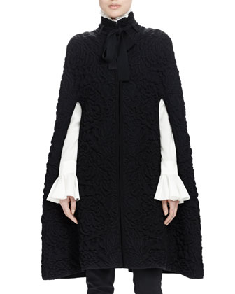 Chunky Quilted-Knit Long Cape, Long-Sleeve Ruffle-Front Blouse & High-Waist ...
