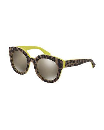 Rounded Leopard-Print Sunglasses, Yellow