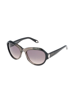 Oval Ombre Sunglasses, Gray/Brown