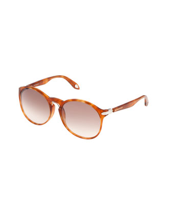 Round Keyhole Sunglasses, Light Havana