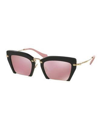 Cut-Off Cat-Eye Sunglasses, Pink/Black