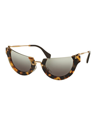 Rounded Cut-Off Cat-Eye Sunglasses