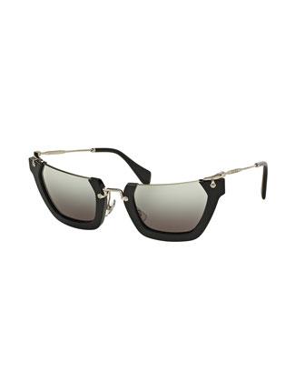 Squared Cut-Off Cat-Eye Sunglasses