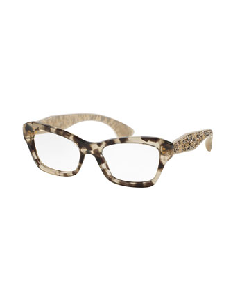 Crystal-Temple Acetate Fashion Glasses