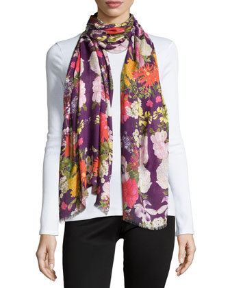 Cheimon Floral-Print Scarf, Purple