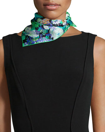 Demeter Floral-Print Square Scarf, Green