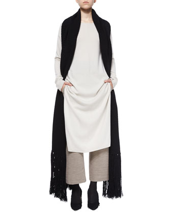 Long Cashmere Tunic, Cropped Wide-Leg Dress Pants & Cashmere-Wool Long Scarf