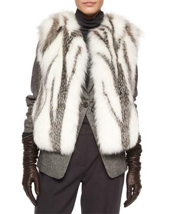 Marbled Fox Fur Vest, Tweed Blazer with Monili Cuffs, Chiffon-Sleeve ...