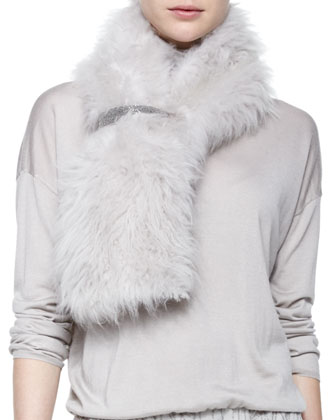 Cashmere Goat Fur Stole, Scalloped Breastplate Necklace & Long-Sleeve ...