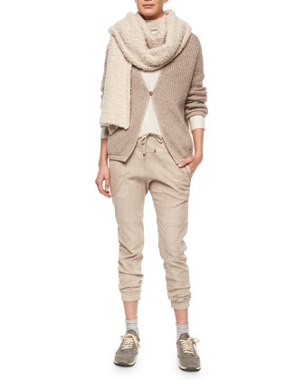 Long-Sleeve Monili-Chain Embroidered Cardigan, Boucle Scarf, Ribbed Layered ...