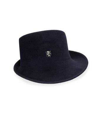Felt Sidesweep Hat w/ Unicorn Pin