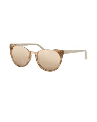 Cutoff-Top Slight Cat-Eye Sunglasses