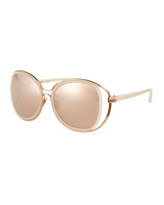Double-Rim Oversize Butterfly Sunglasses